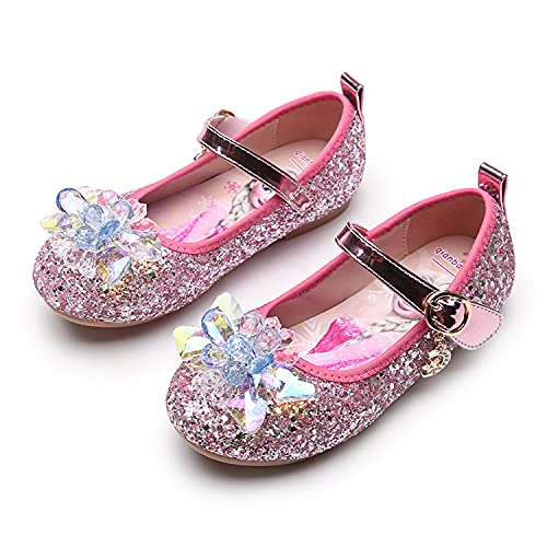 Eleasica Par de Zapatos Planos con Plantilla con Estampado de Princesa Elsa, Zapatillas de Baile a Juego con Vestido de Princesa, Zapato de Cristal de Cenicienta para niñas de 3 a 12 años