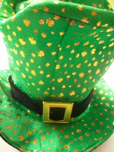 Henbrandt - Chapeau de Déguisement - Irish Topper - Magicien ou Monsieur Loyal Irlandais - Velours Vert - 34 x 35 x 5 cm