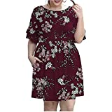 Plus Size Floral Midi Dress for Women, Summer Ladies Casual Ruffle Sleeve Crewneck Swing Skirt with Pocket