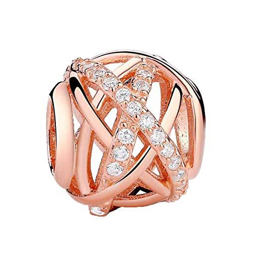 Charm para pulsera de la marca Kiss Me, de plata de ley y circonitas, de color oro rosa