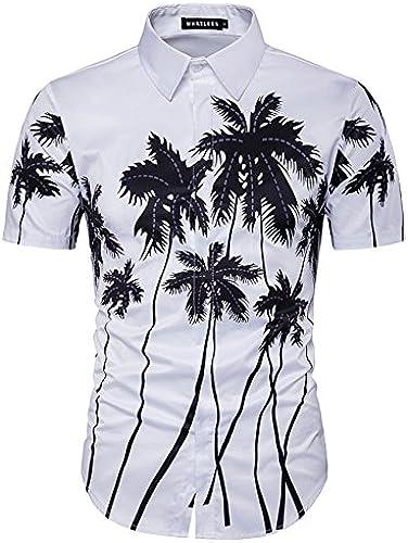 MAYUAN520 Chemises Virginia plage Shirt Motif Palmier 3D Printed Shirt mode Homme Chemises Manches Courtes Homme Occasionnels Shirt Chemise Homme,Wihte Asiatique,Taille XXL