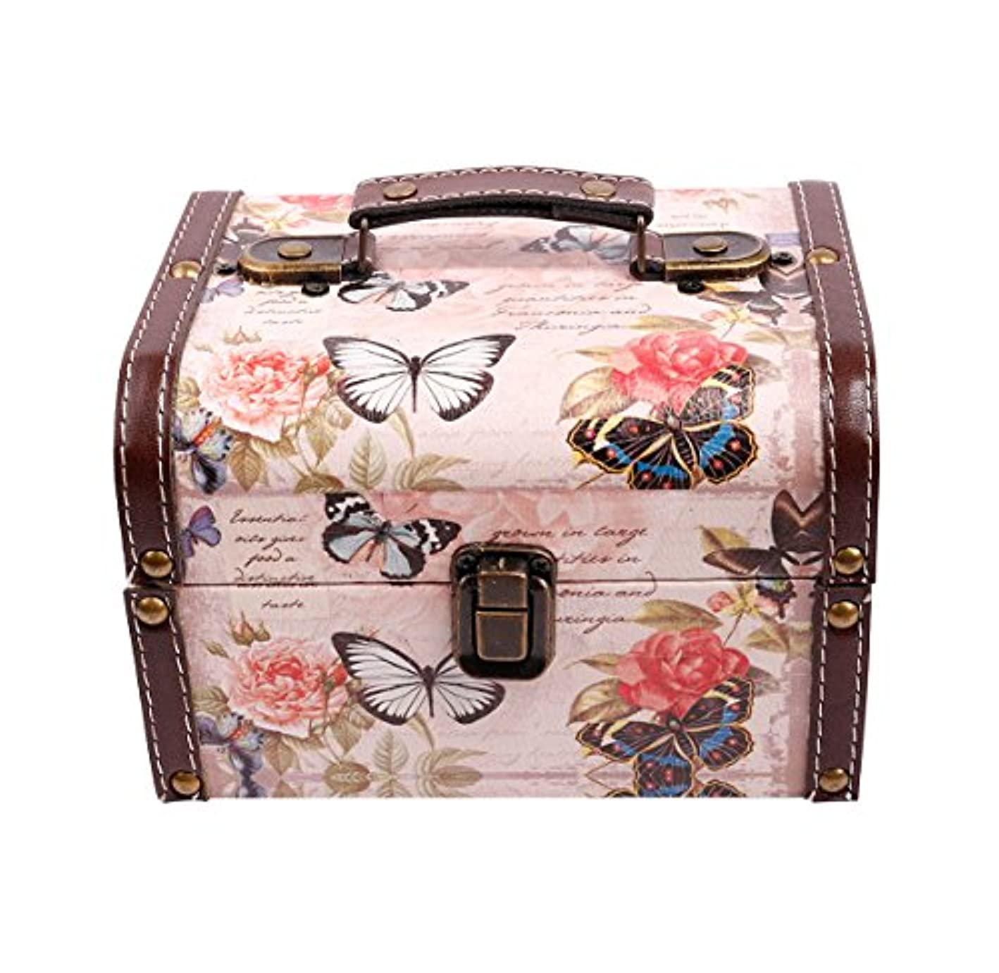 WaaHome Butterfly Wooden Treasure Boxes Decorative Jewelry Keepsakes Box for Kids Girls Women Gifts,Pink (7.1''X5.6''X4.7'')