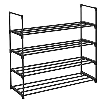 SONGMICS Shoe Rack 4-Tier Shoe Organizer Hold up to 20 Pairs of Shoes Stackable Shoe Tower for Living Room Entryway Black ULSA14BK