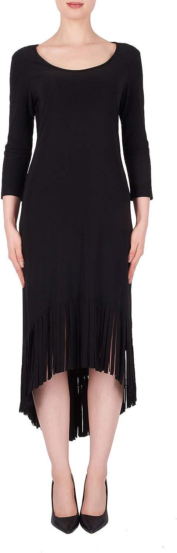 Joseph Ribkoff Black Dress with Fringes Style 191008