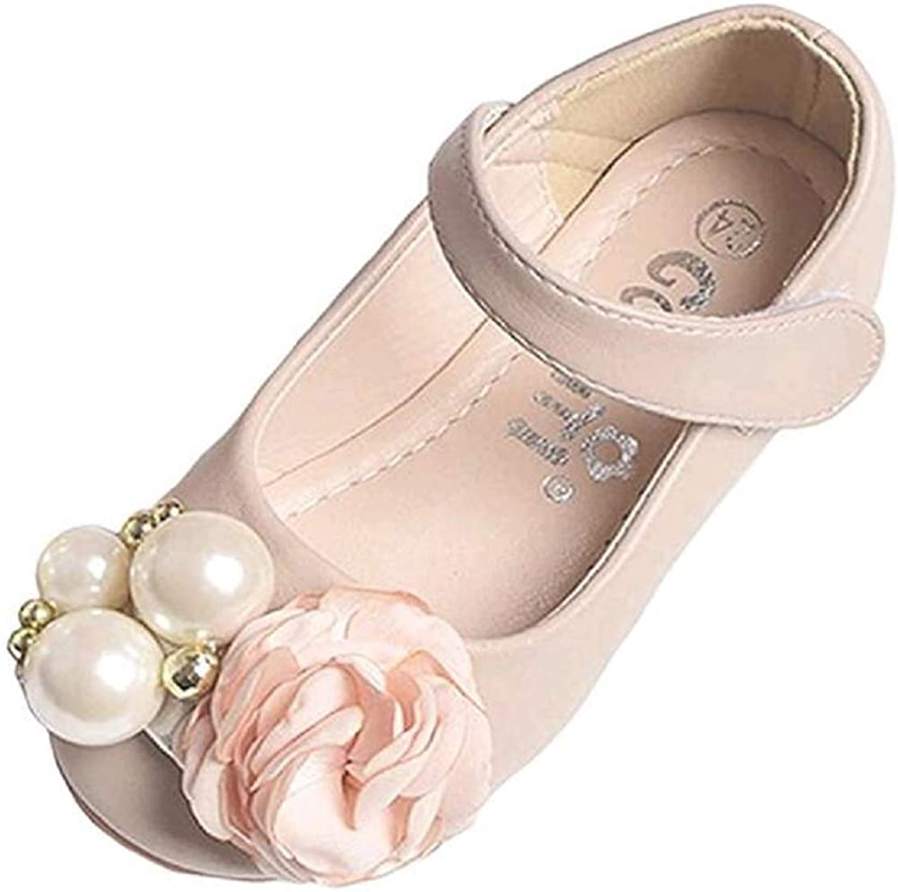 Tortor 1Bacha Kid Girls' Flower Pearl Princess Dress Mary Jane Flat Shoes (Toddler/Little Kid)