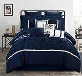 Chic Home CS2757-AN Ashville 16 Piece Bed in A Bag Comforter Set, King, Blue