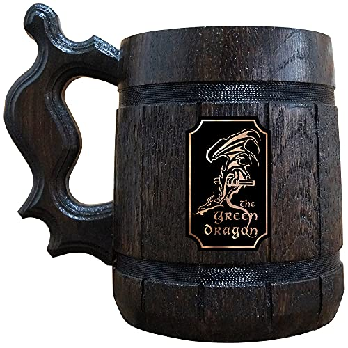 The Green Dragon Beer Mug, LOTR Gift, Green Dragon Wooden Beer Stein, Lord Of The Rings Beer Tankard, Hobbit Mug, Gift for Geek