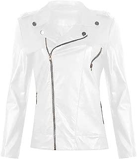 DYYRW Faux Leather Jacket, Ladies Long Sleeve Motorcycle Jacket, Zip Pocket, Jacket Jacket