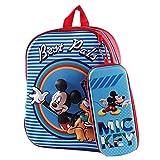 Mochila Mickey Mouse para niños Mochila Infantil con Mickey Mouse en Diseño 3D Mickey Mouse Mochila y Estuche para Lápices Set Mochila Azul de Gran Capacidad Impermeablepara Escuelas Viaje
