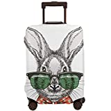 Travel Suitcase Protector,Rabbit In Glasses Vintage Hand Drawn Cute Bunny Face Doodle Sketch Portrait with Glasses and Bow Tie Vector Illustration,Suitcase Cover Washable Luggage Cover XL