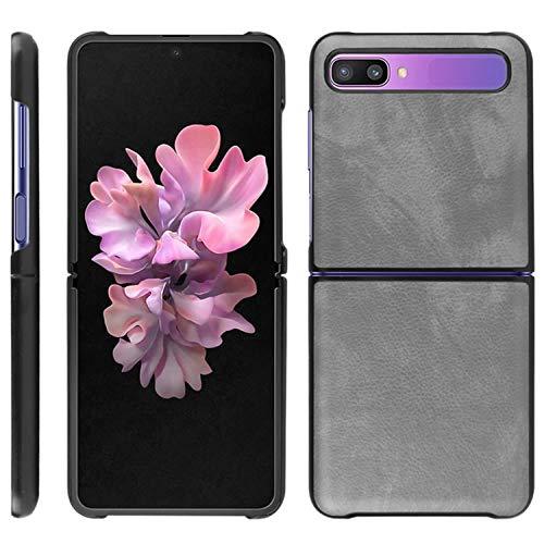 HualuBro Handyhülle für Samsung Galaxy Z Flip Hülle, Retro PU Leder Ultra Slim Stoßfest Schutzhülle Lederhülle Back Bumper Hülle Cover für Samsung Galaxy Z Flip Tasche (Grey)