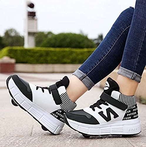 GUIOB Zapatillas de deporte para niña y niño, con doble rueda, para exteriores, color negro 34
