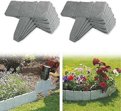 JYWJ - Borde de jardín de plástico con efecto piedra, piedra de simulación de empalme de jardín, 40 piezas