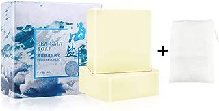 Ownest 2Pcs Sea Salt Soap+2Pcs Foaming net, Treatment for Face Body, Cleans Skin Removal Acne Oil-control Softening Keratin Natural Goat Milk Soap-100g