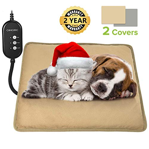 OMORC Heizkissen für Hund und Katze, Heizdecke Hund mit Thermostaten, Heizmatte Hund mit 2 austauschbaren Decken, Anti-Biss-Schlauch & 12V Niederspannung, Einstellbare 3 Temperatur & Timer