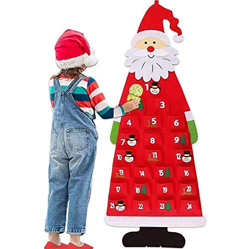 Hilai Feutre Arbre de Noël, 3.7ft Arbre de Noël DIY Calendrier de lAvent Tissu Arbre de Noël de Bricolage Arbre de Noël en Feutre avec 24 Ornements Détachables Nouvel an Partie pour Enfants Rouge