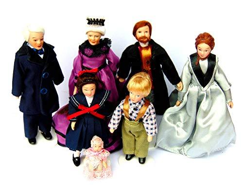 Tumdee Miniatures Puppenhaus Miniatur-Puppen-Set, viktorianische Familie, 7 Stück