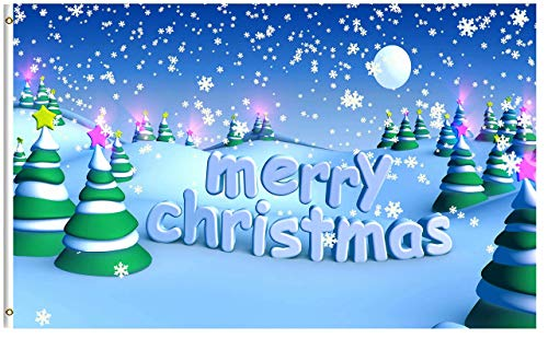 LAKILAN Merry Christmas Tree Winter Snow Snowflake Yard Banner,Polyester Flag,Indoor/Outdoor Wall Banners,Decorative Flag,Breeze Flag,Seasonal Garden Flag 3'X5'