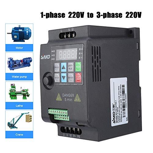 VFD 220V 0.75KW, Variador de Frecuencia,Convertidor de Frecuencia Variable Monofásico a Trifásico con Control PWM