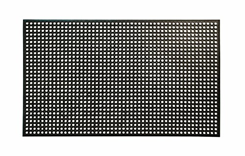 "Erie Tools 3x5 Black Rubber Drainage Floor Mat 36"" x 60"" Anti-Fatigue Anti-Slip"