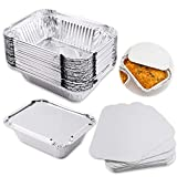 WXJ13 30 Packs Small Disposable Aluminum Container Pans Foil Trays with Lids for Baking, Cooking, Storing and Freezing 5.1 Inches x 4 Inches