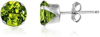 7MM Classic Brilliant Round Cut CZ Sterling Silver Stud Earrings - PERIDOT GREEN. 7-PERI