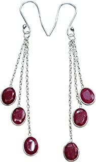 Nature Cherry Ruby Handmade Earrings, 925 Sterling Silver Earrings Women's Jewelry Mother's Gift 3