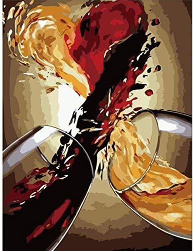 N/D Gemälde Nach Zahlen Stillleben Zusammenfassung Wein DIY Hand Gezeichnete Ölgemälde Leinwand Ölgemälde Auf Leinwand Home Decoration Für Wohnzimmer 40X50Cm Rahmenlos
