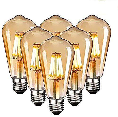 Edison Vintage Glühbirne, Edison LED Lampe Warmweiß E27 6W Retro Glühbirne Vintage Antike Glühbirne Ideal für Nostalgie und Retro Beleuchtung im Familie Hotel Bar usw, 6 Stück