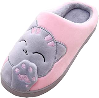 Women Men Plush Cute House Slippers Lucky Cat Warm Winter Indoor Home Slippers