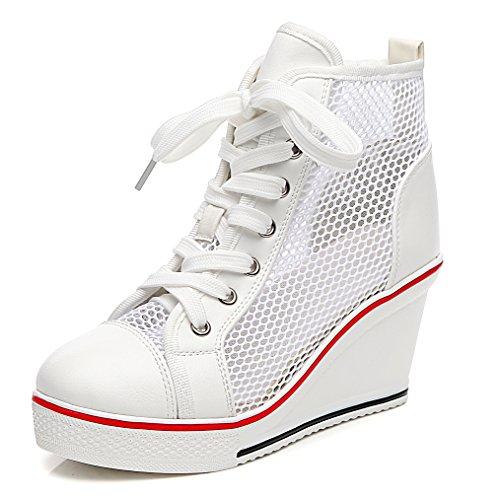 Solshine Damen Atmungsaktive Netz Sommerschuhe Plateau Wedge Sneakers Keilabsatz Hoher Absatz Größe 35-43