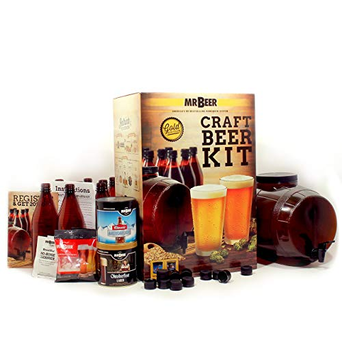 Mr. Beer 2 Gallon Complete Beer Making Kit Perfect for Beginners, Designed for Quick and Efficient Homebrewing Premium Gold Edition (Renewed)