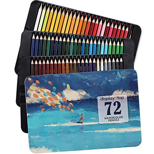 Display4top Lápices de acuarela profesionales, Lápices de Colores con Caja de Metal,colores vibrantes y hermosos efectos de mezcla con agua, ideales para dibujar,sombrear y colorear (72 colores)