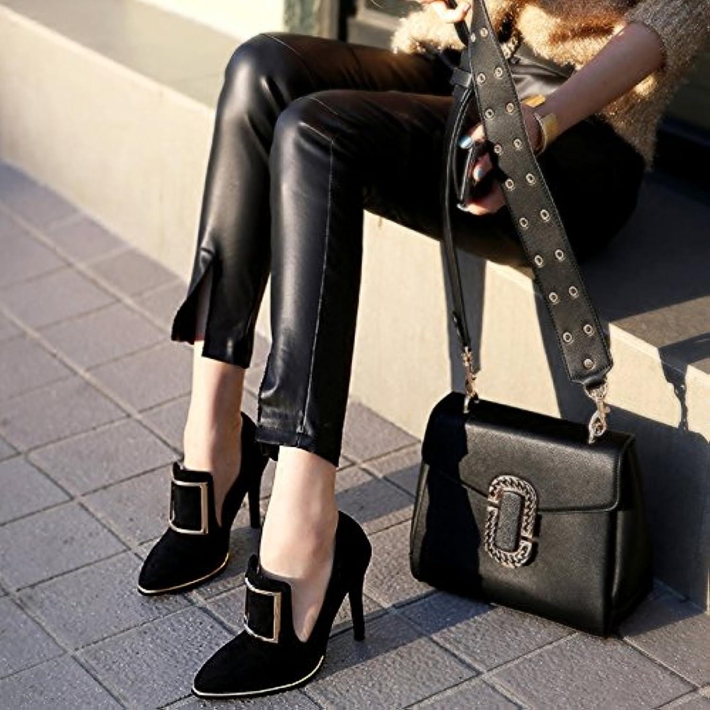 Xue Qiqi Court Schuhe Weibliche hohe Geldstrafe Geldstrafe Geldstrafe mit quadratischer Wölbungsart und weise Britische Retro- einzelne Schuhe weiblich, 35, schwarz B07F66Q8S1  Günstigstes 86f13d