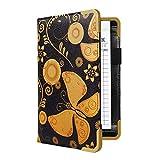 CoBak Server Book - Waitress Book Organizer with Zipper Pouch for Restaurant Waitstaff, 5 Large Pockets with Pen Holder, Butterfly.