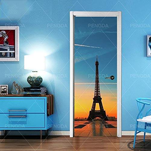 Deurfolie 3D Deurfolie 3D Deurstickers Canvas Parijs Ijzertoren Print Artdecoratie Sticker Poster Waterdicht Behang Plak-As_Shown_95X215Cm