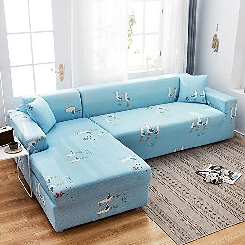 Funda de Sofá 1 Plazas,Jacquard Poliéster Funda Sofa Elasticas Suaves Resistentes Sofa Antideslizante, Cubierta para Sofa Protector-Ganso Azul de Dibujos Animados