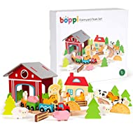 boppi Wooden Toy 48 Piece Farm Train Set with 8 Piece Circular Railway Track Locomotive and Carriage...