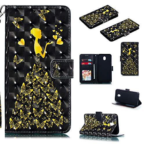 Nadoli Wallet Handyhülle für Galaxy J5 2017,Kreative 3D Gold Schmetterling Mädchen Muster Taljereep Ständer Flip Ledertasche Brieftasche Schutzhülle Etui für Samsung Galaxy J5 2017