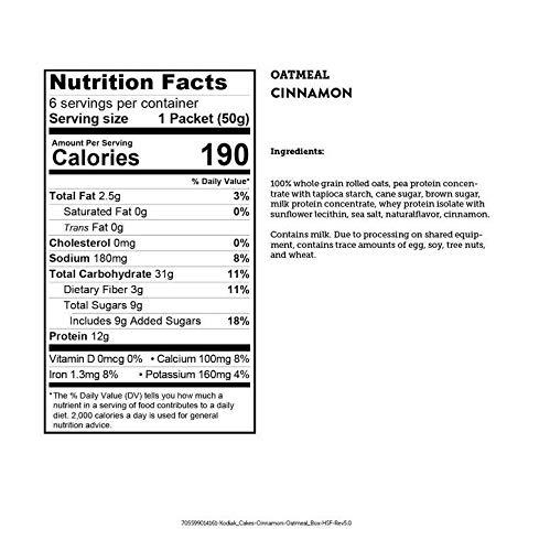Kodiak Cakes Cinnamon Oatmeal Packets (Pack of 6)