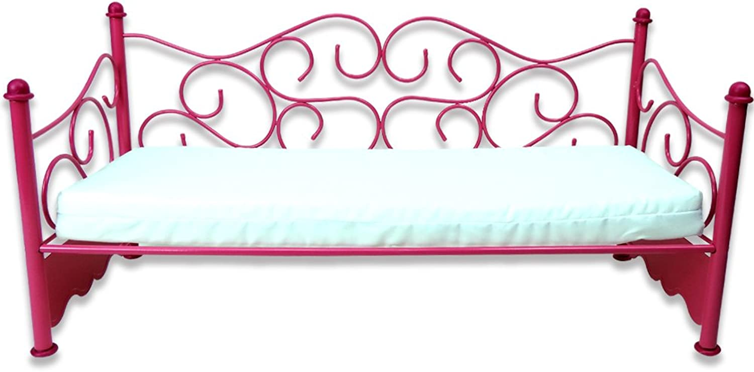 18 Inch Doll Bed Furniture with Mattress by Sophia's Perfect for American Girl Dolls and More Mattress & Hot Pink Wire Day Bed for Dolls
