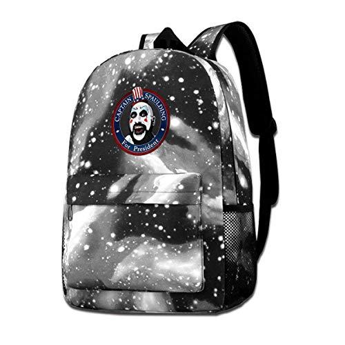 IUBBKI Zaino laterale nero Casual Daypacks Captain-Spaulding-for-President Backpack Starry Sky Multi-Function Bookbag Laptop Shoulder Bag for Teens Boys Girls Gray