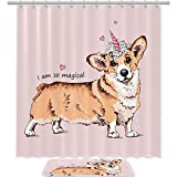 Dragon Sword Shower Curtain Set Dog with A Pink Unicorn Horn Waterproof Bath Shower Curtain with Non Slip Area Rugs Doormat