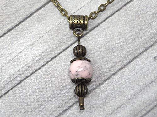 Collar con colgante de estilo vintage para mujer en turquesa rosa reconstituido montado sobre una cadena de bronce antiguo