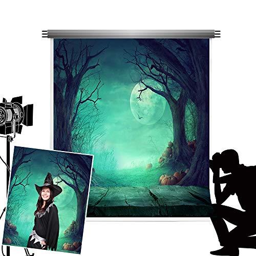 Kate Hallween telón de fondo para fotografía verde noche de luna Photocall Bakcground para niños Halloween Studio fotos 5x 7ft (1.5x 2.2m)