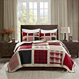 Woolrich Reversible Quilt Cabin Lifestyle Design - All Season, Breathable Coverlet Bedspread Bedding Set, Matching Shams, Full/Queen(92'x96'), Plaid Red, 3 Piece