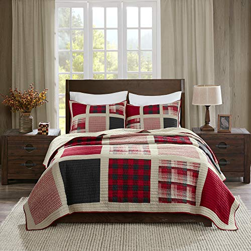 Woolrich Reversible Quilt Cabin Lifestyle Design All Season, Breathable Coverlet Bedspread Bedding Set, Matching Shams, King/Cal King(110'x96'), Plaid Red, 3 Piece