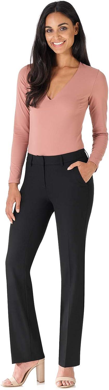Rekucci Women's Smart Stretch Desk to Dinner Straight Leg Pant w/Zipper Closure