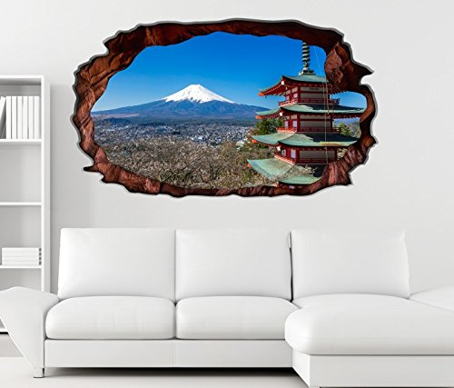 3D Wandtattoo Mount Fuji Vulkan Berg Japan Fudschi selbstklebend Wandbild Tattoo Wohnzimmer Wand Aufkleber 11M235, Wandbild Größe F:ca. 162cmx97cm