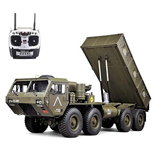 GODNECE Militärfahrzeuge Ferngesteuert, 1/12 2.4G 8 x 8 RC Kipper Ferngesteuert Militär-LKW mit leichtem Ton ohne Ladegerät - HG-P803A Aktualisierte Version